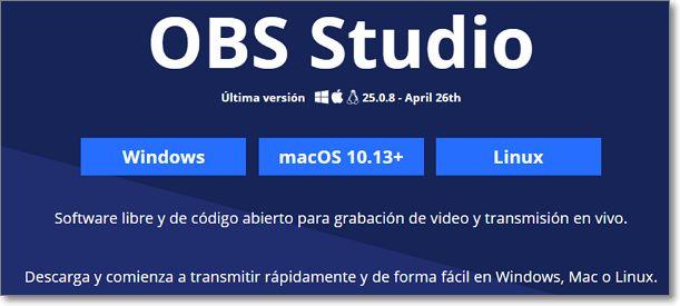 página web obs studio