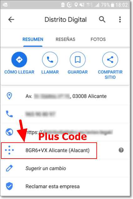 Plus code en Google Maps