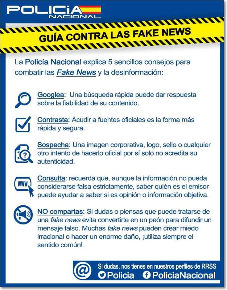 Recomendaciones policia nacional sobre fake news