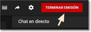 Terminar emisión directo youtube