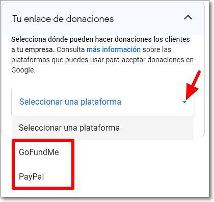 Plataformas de donaciones google my business