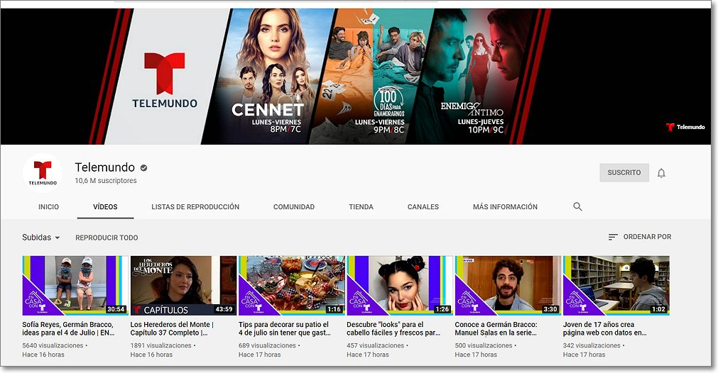 Telemundo en Youtube