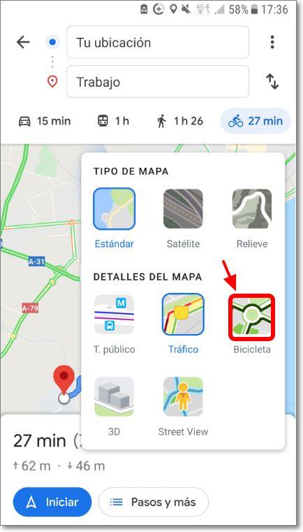 Detalles de mapa modo bicicleta