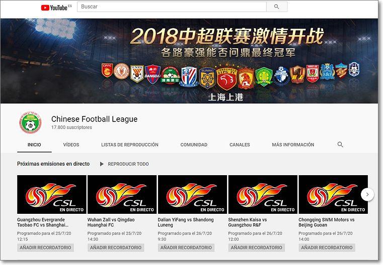 canal de fútbol en Youtube