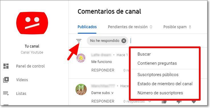 filtros comentarios youtube