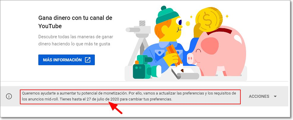 Monetización preferencias anuncios mid roll