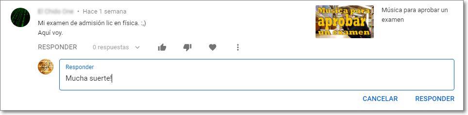 Responder comentario canal youtube