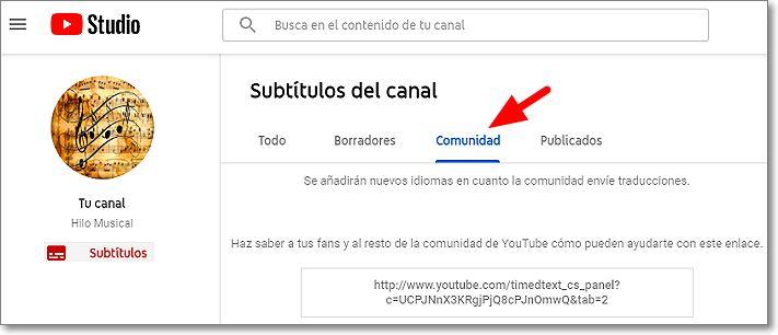 """Subtítulos en Youtube Studio """"Comunidad"""""""