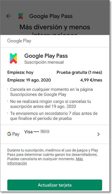 Suscripción Google Play Pass