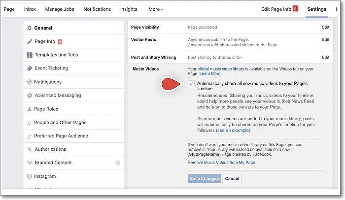 Configuración Facebook marcar vídeos musicales
