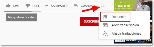 Denunciar vídeo en Youtube