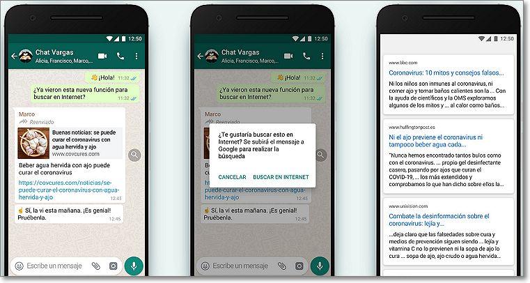 Buscar contenido Fake en WhatsApp