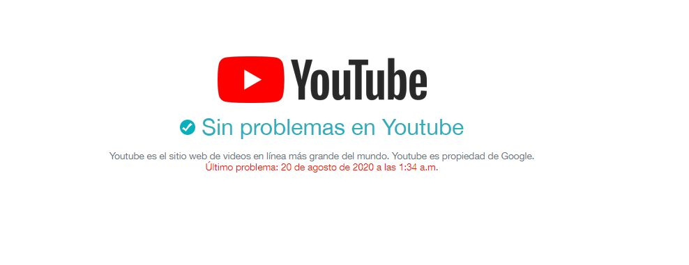 google anuncia caídas de servicio pero no hay problemas en Youtube