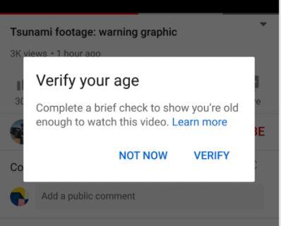 Verifica tu edad en Youtube