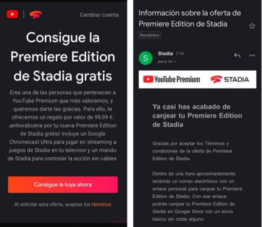 Acceso a Stadia con Youtube Premium