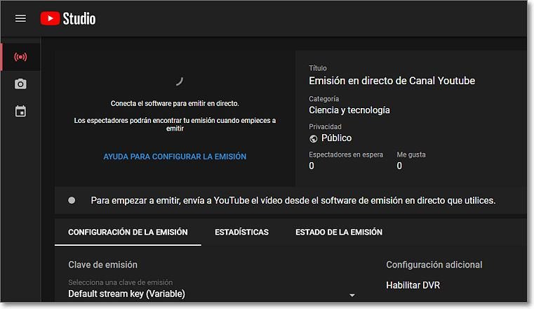 Emisión directo Youtube Studio