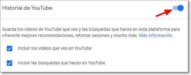 Botón para desactivar el historial de Youtube