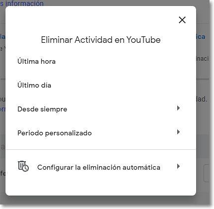Eliminar actividad en Youtube