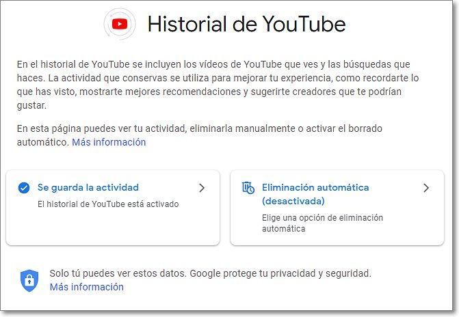 Historial de Youtube en Mi Actividad de Google