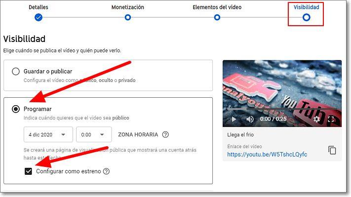 Programar estreno en Youtube