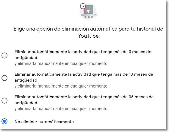 Eliminación automática de historial en Youtube