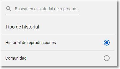 Selecciona el tipo de historial para borrar