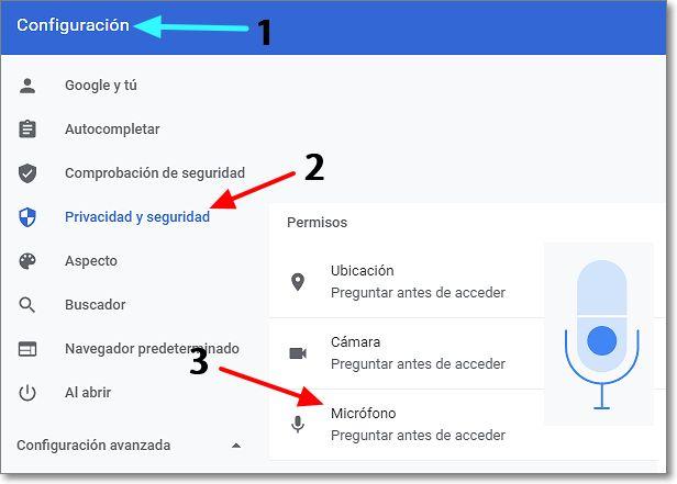 activar micro Configuración navegador