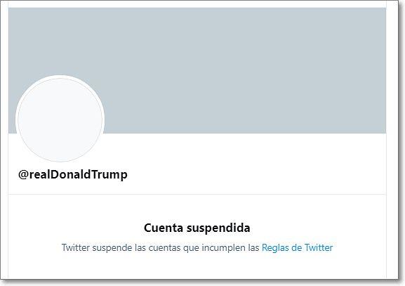 Cuenta Twitter Donald Trump suspendida