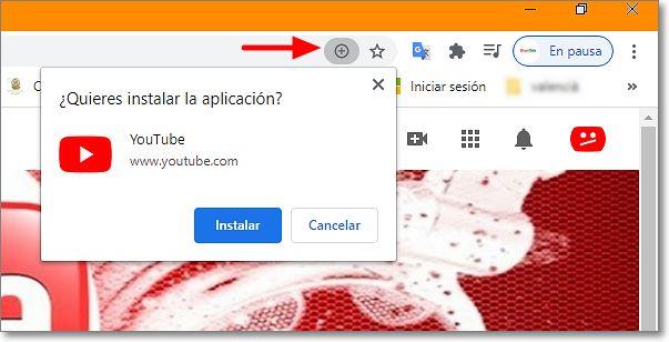 Instalar Youtube en PWA en escritorio