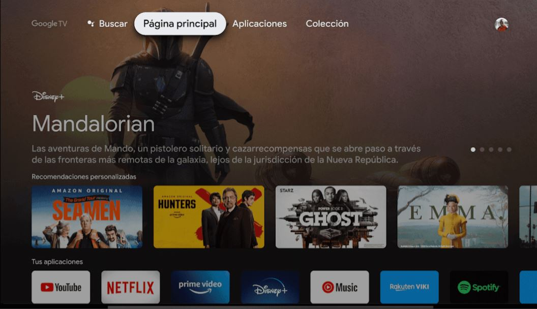 Interfaz Google TV con aplicaciones streaming