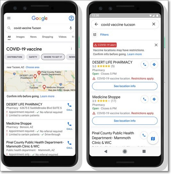 Localización sitios vacunación Covid-19 en Google