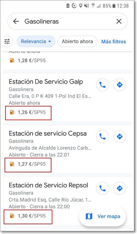 Precio en distintas gasolineras cercanas