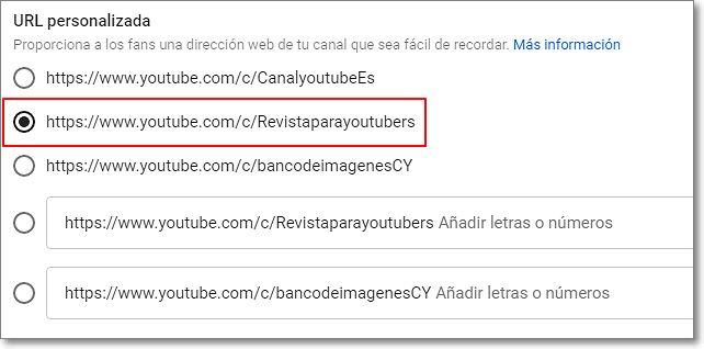 Elegir entre 5 nombres para personalizar url de youtube
