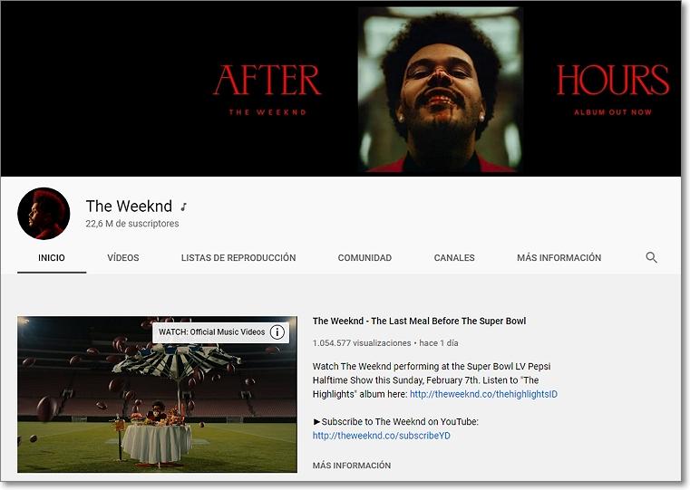 Canal en Youtube The Weeknd