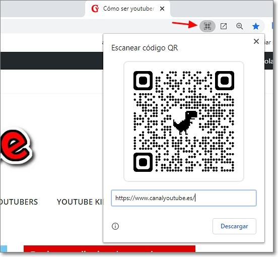 Código QR generado con Google Chrome
