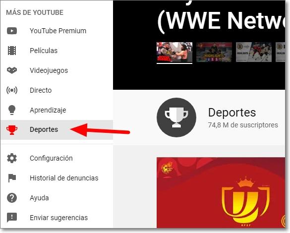 Entrar en deportes de Youtube desde el menú