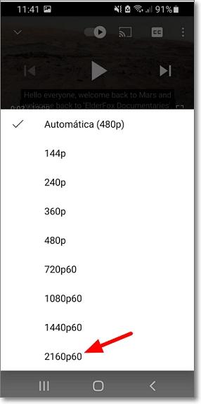 Vídeo calidad 4K Youtube Android