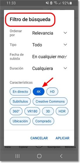 Filtro de búsqueda 4K en android