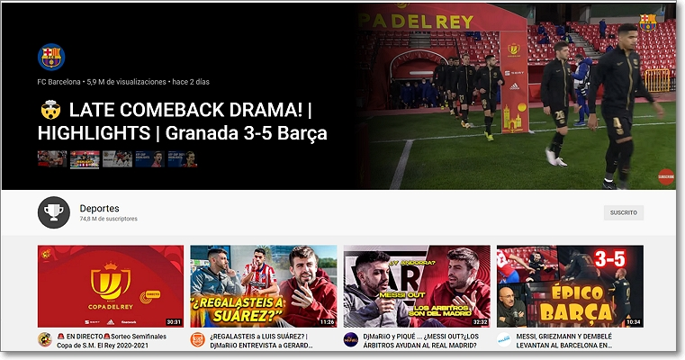 Página deportes Youtube