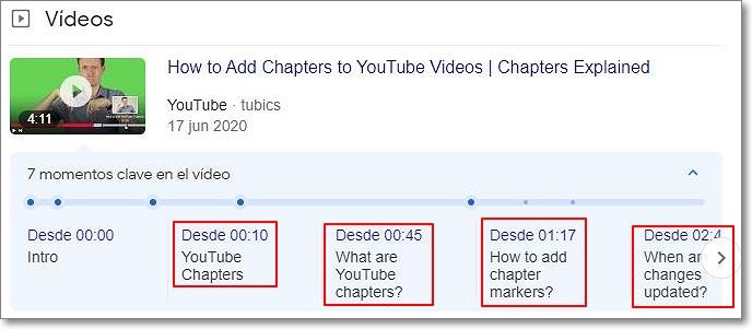 Capítulos marcados en Google Search