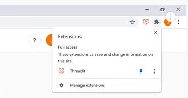 Extensión Threadit para Chrome