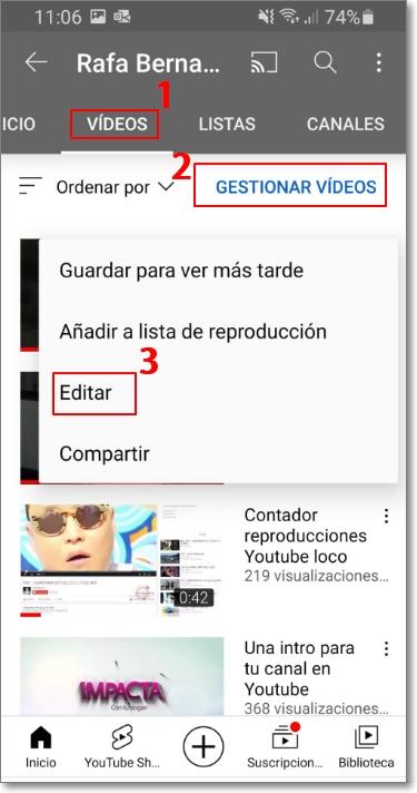 Editar vídeos cortos en Youtube Shorts