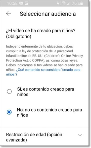 Seleccionar audiencia youtube shorts